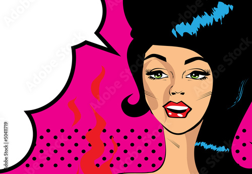 Retro Pop Art Hot Woman Love Vector illustration of smile female
