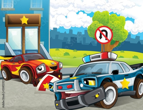 Keuken foto achterwand Cars The police car officers - illustration for the children