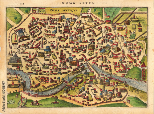 Canvas Print Rome medieval map
