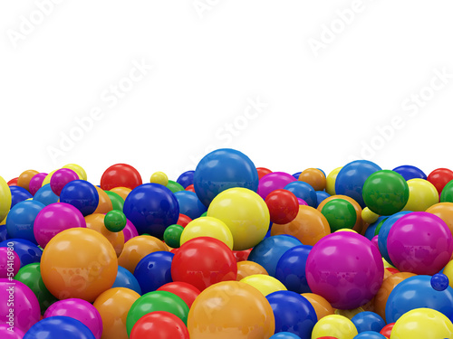 Heap of Colorful Balls isolated on white background
