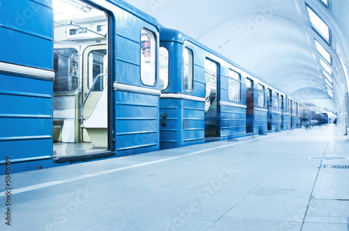 Fotografie, Obraz  Blue train on subway station