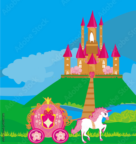Poster Castle castle and beautiful carriage