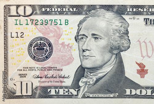 Photo  Ten dollar bill fragment