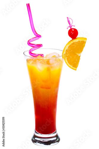 Printed kitchen splashbacks Beer / Cider Tequila Sunrise Cocktail isolated on white background