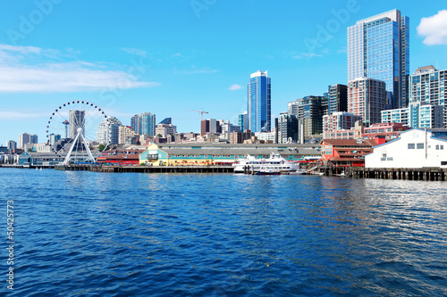 Seattle waterfront Pier 55 and 54. Downtown view from ferry. Wallpaper Mural