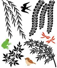 柳と笹と藤の花