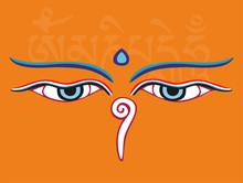 Buddha Eyes Or Wisdom Eyes - Religious Symbol, Vector Illustrati