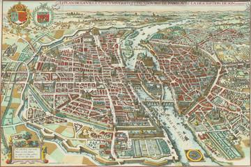 Fototapeta Paryż Paris vintage map