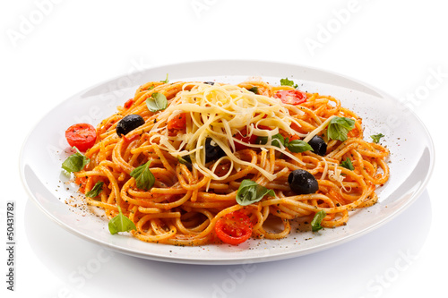 Photo Stands Ready meals Pasta with meat, tomato sauce, parmesan and vegetables