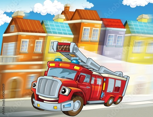 Foto op Canvas Cars The red firetruck - duty - illustration for the children