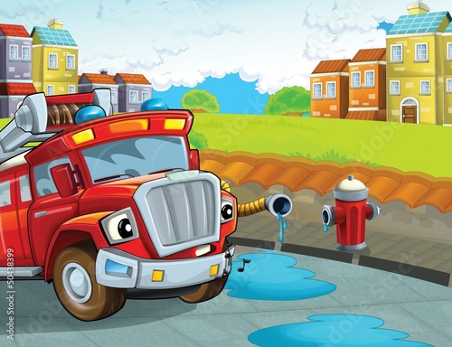 Keuken foto achterwand Cars The red firetruck - duty - illustration for the children