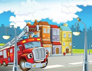 Crveno vatrogasno vozilo - dužnost - ilustracija za djecu