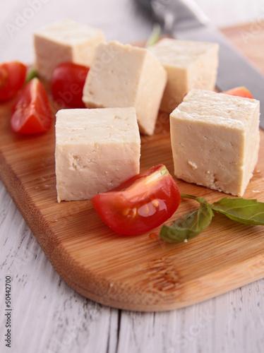 tofu with tomatoes on board