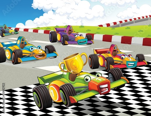Keuken foto achterwand Cars The formula race - super car - illustration for the children