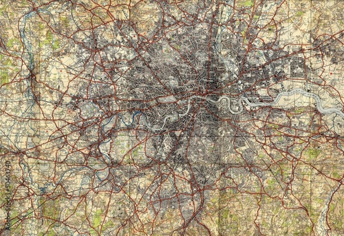 London vintage map Tablou Canvas