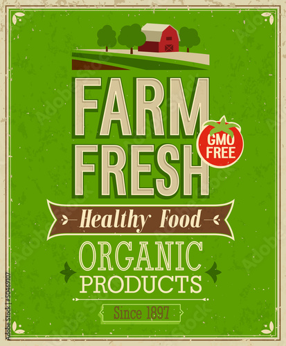 Affiche vintage Vintage Farm Fresh Poster. Vector illustration.