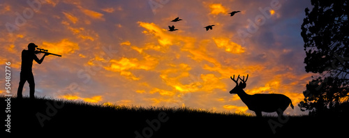 Foto op Canvas Jacht Rifle Hunting Silhouette