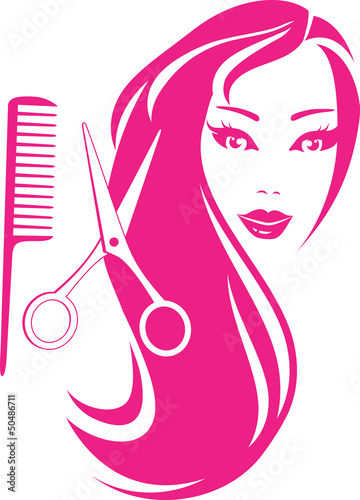 beautiful girl with scissors and comb