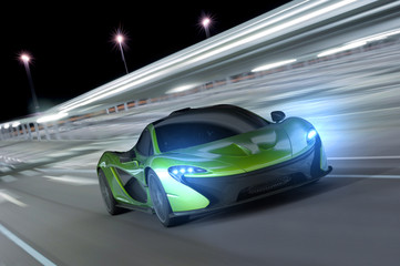 samochód wyścigowy w nocy