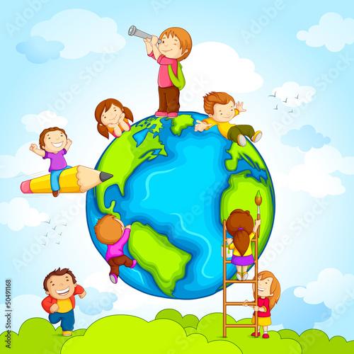 vector illustration of kids climbing around earth