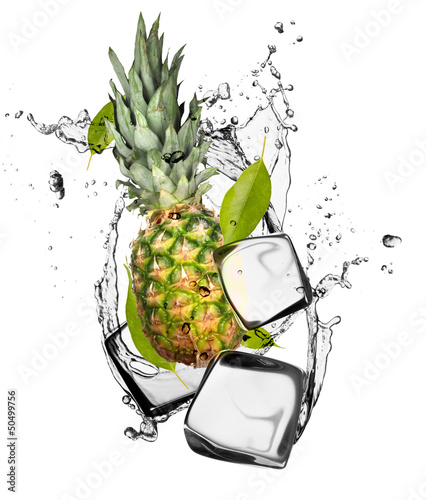 Fotobehang In het ijs Pine-apple with ice cubes, isolated on white background