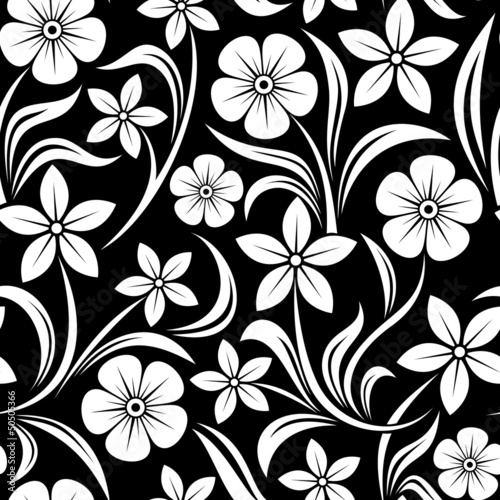 Poster Floral black and white Seamless pattern with flowers. Vector illustration.