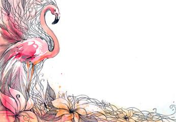 Panel Szklany Na drzwi flamingo