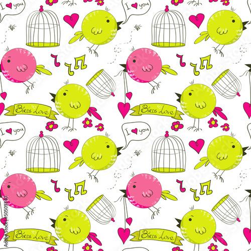 In de dag Vogels in kooien Vector seamless pattern with hand drawn birds