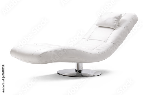 Valokuva Studio shot of a comfortable white armchair in leather