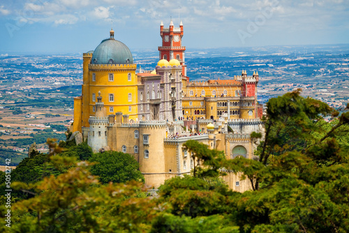 Fotografie, Obraz  Panorama of Pena National Palace above Sintra town, Portugal