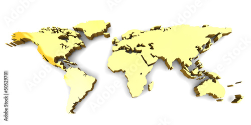 Foto op Aluminium Wereldkaart WORLD MAP - 3D
