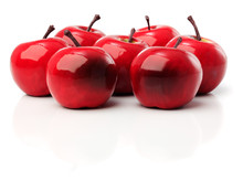 A Set Of Seven Red Plastic Apples