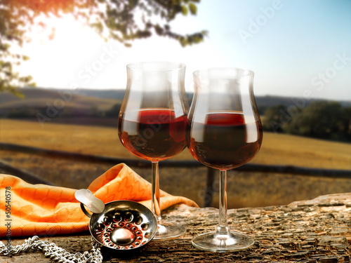 Canvas Prints Vineyard bicchieri di vino rosso e decanter