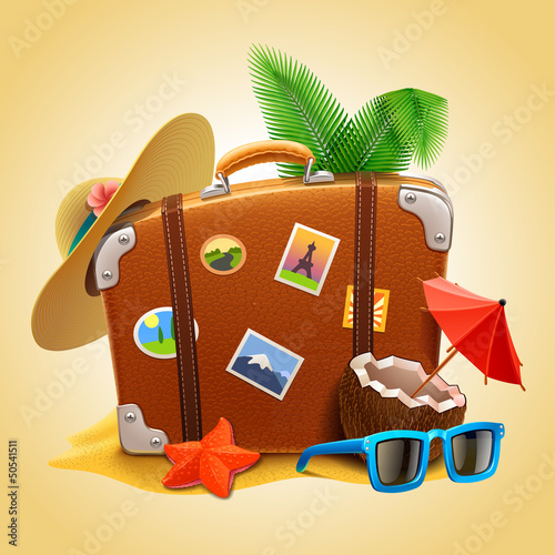 Plakat na zamówienie vector travel Suitcase