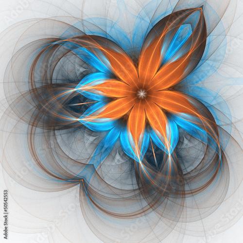 pomaranczowy-i-niebieski-kwiat-cyfrowy-projekt-fraktali