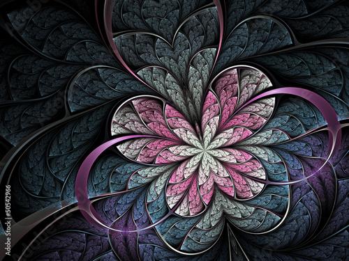 rozowy-kwiat-lub-motyl-na-ciemnym-tle-sztuka-cyfrowy-fraktal