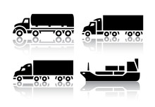 Set Of Transport Icons - Freig...