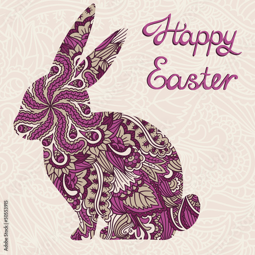 Cute ornamental Easter rabbit. Vector background