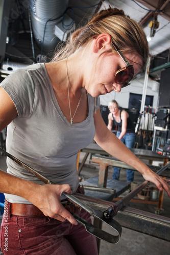 Fotografie, Obraz  Sculptor Shaping Glass Art