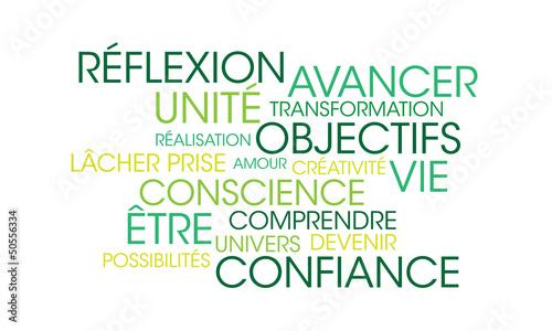 Fotografie, Obraz  Nuage de mots coaching vert