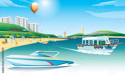 Poster Montgolfière / Dirigeable pattaya beach