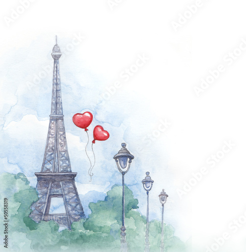 Recess Fitting Illustration Paris Watercolor background with illustration of eiffel tower