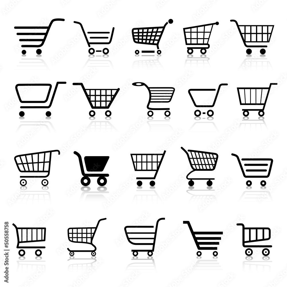 Fototapeta Warenkorb Einkaufswagen Web Icon Button Set