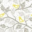 żółte ptaki brązowe liście na gałęziach nieskończony deseń