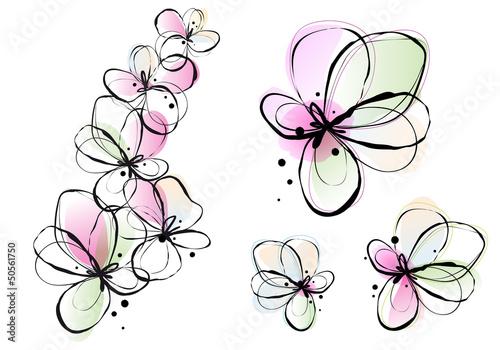 Tuinposter Abstract bloemen abstract watercolor flowers, vector