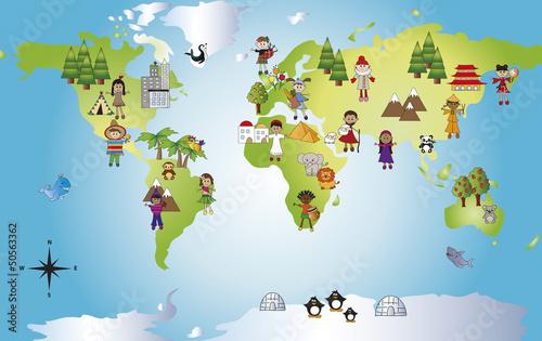 Fototapeta mapa mapa-swiata-dla-dzieci