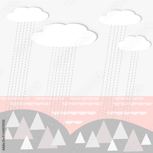 Vector landscape bacground with rainy clouds, wood and sea