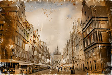 Aged Textured Photo With Italian Cities