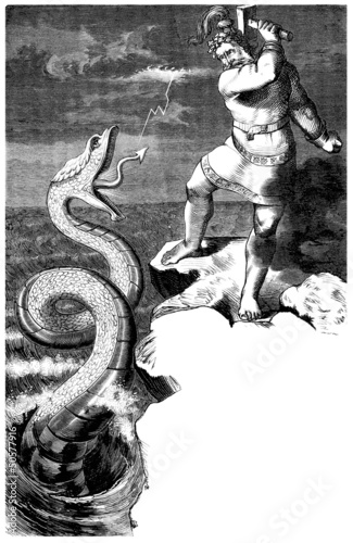 Photo  Nordic-Germanic Mythology : Thor fighting a Snake