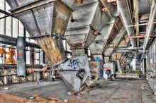 Hoppers Inside An Abandoned Power Plant